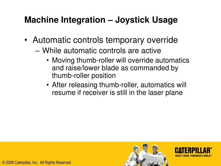Machine Integration – Joystick Usage