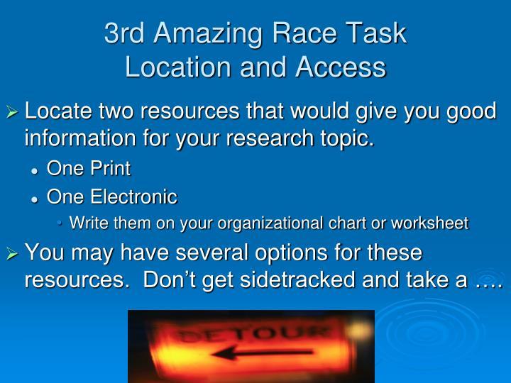 3rd Amazing Race Task