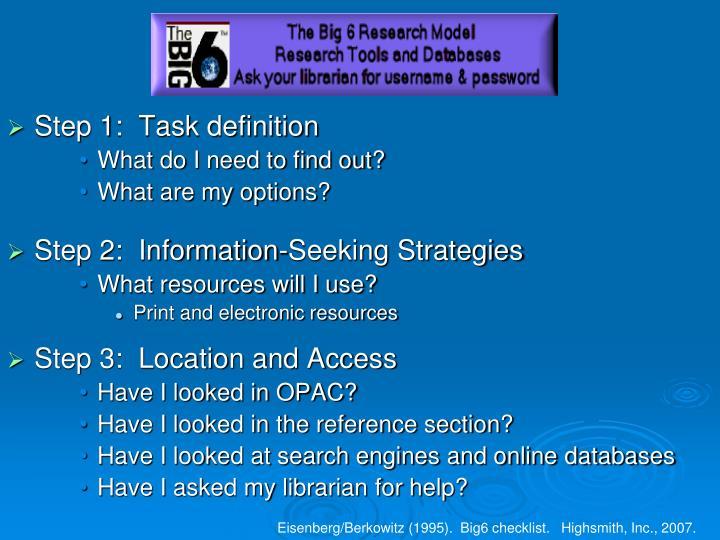 Big6 Checklist