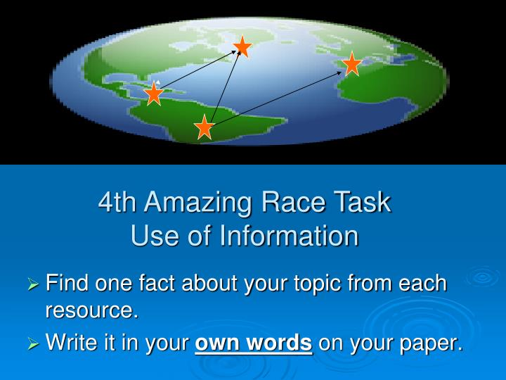 Find one fact about your topic from each resource.