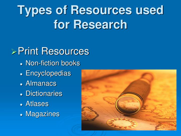 Types of resources used for research