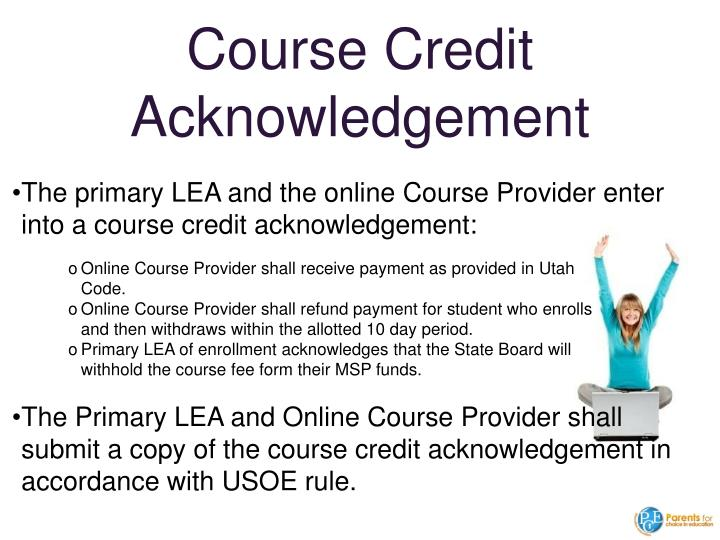 Course Credit Acknowledgement
