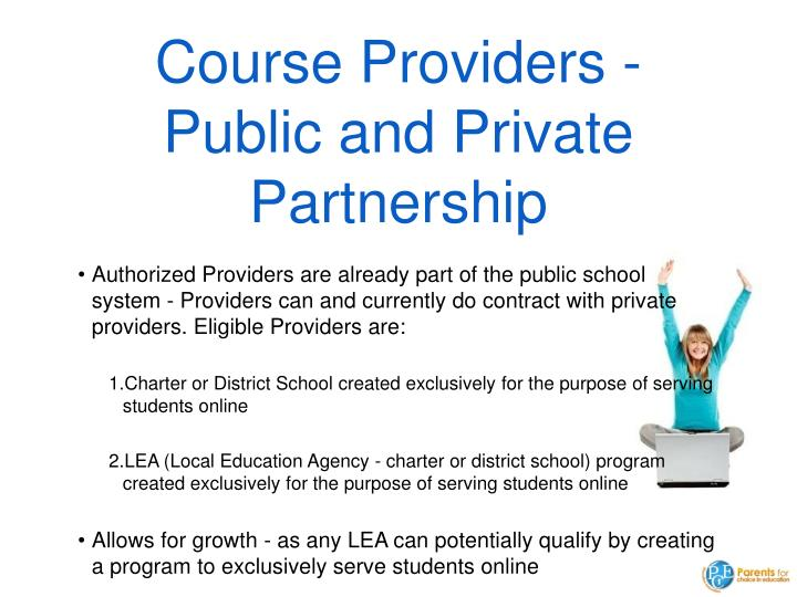 Course Providers - Public and Private Partnership