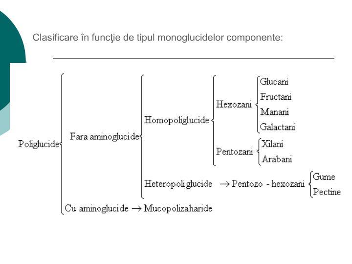 Clasificare în funcţie de tipul monoglucidelor componente: