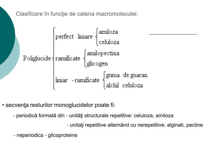 Clasificare în funcţie de catena macromoleculei: