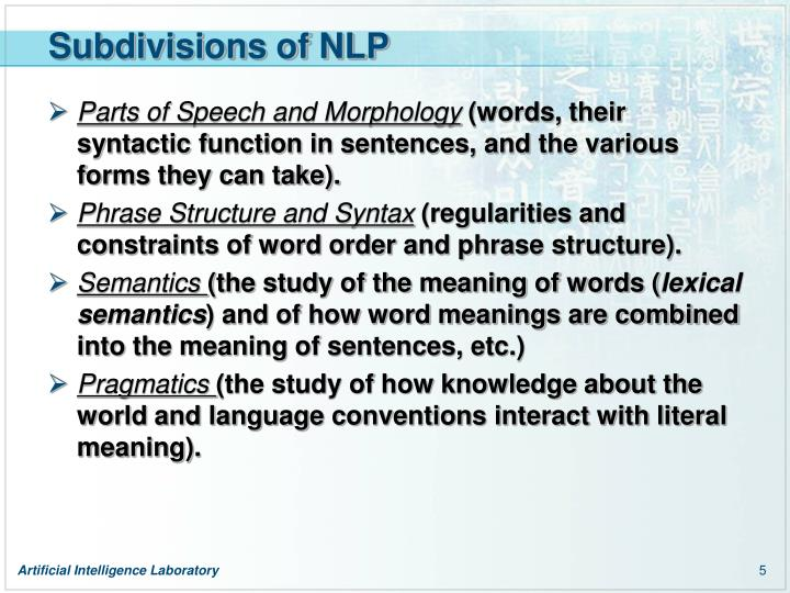 Subdivisions of NLP