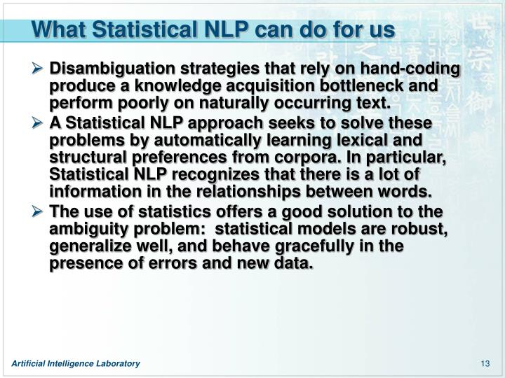 What Statistical NLP can do for us