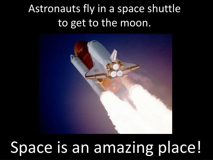Astronauts fly in a space shuttle
