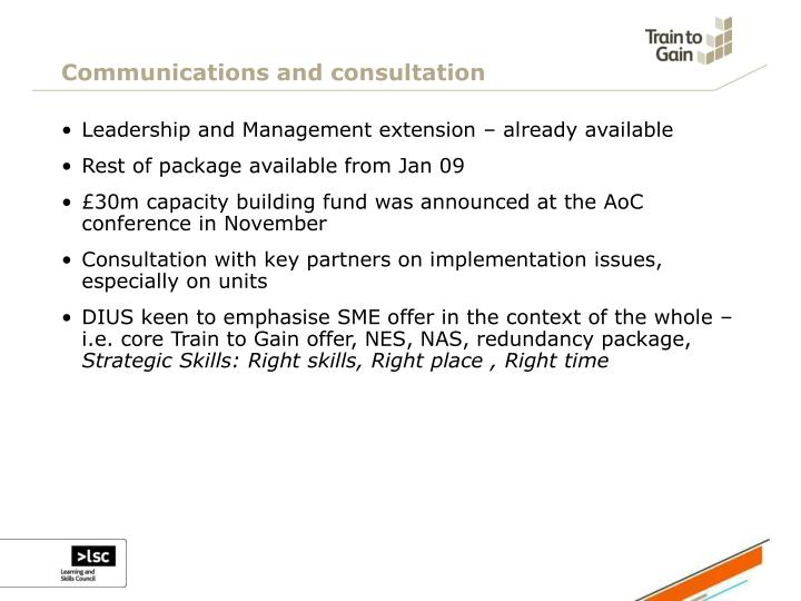Communications and consultation