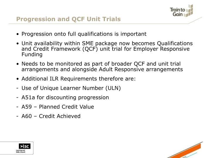 Progression and QCF Unit Trials