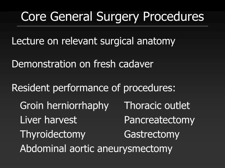 Core General Surgery Procedures