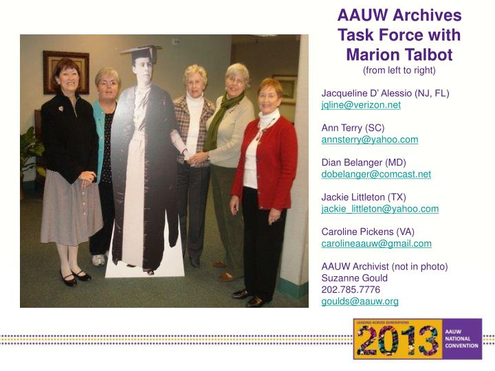 AAUW Archives Task Force with Marion Talbot