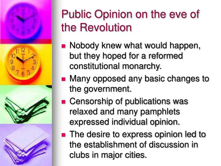 Public Opinion on the eve of the Revolution