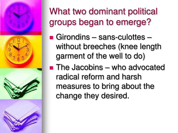 What two dominant political groups began to emerge?