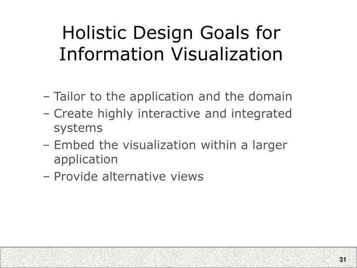 Holistic Design Goals for Information Visualization