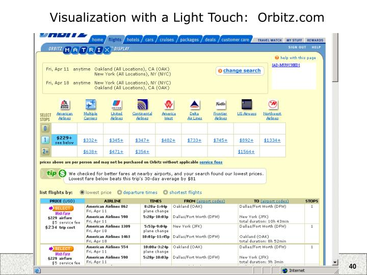 Visualization with a Light Touch:  Orbitz.com