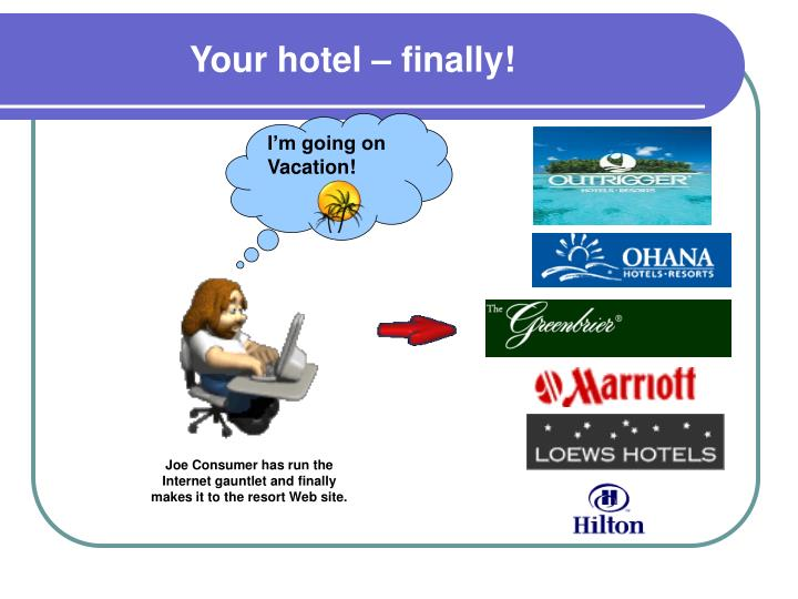 Your hotel – finally!