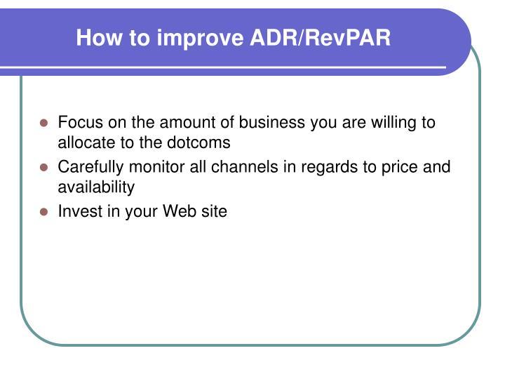 How to improve ADR/RevPAR