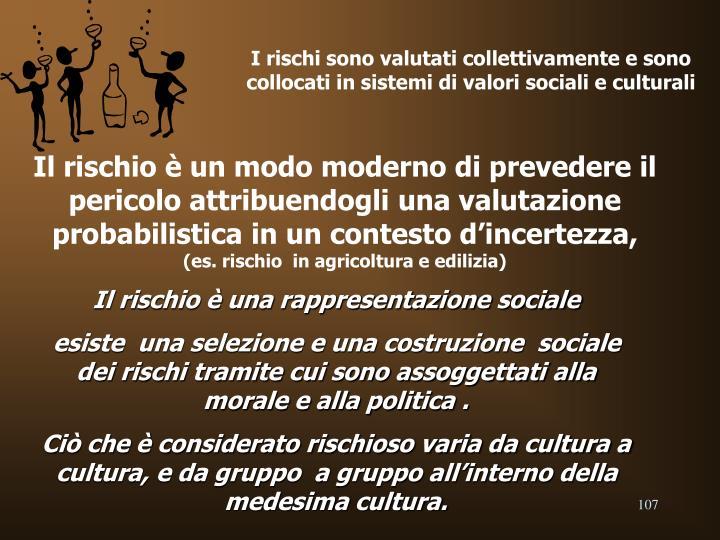 I rischi sono valutati collettivamente e sono collocati in sistemi di valori sociali e culturali