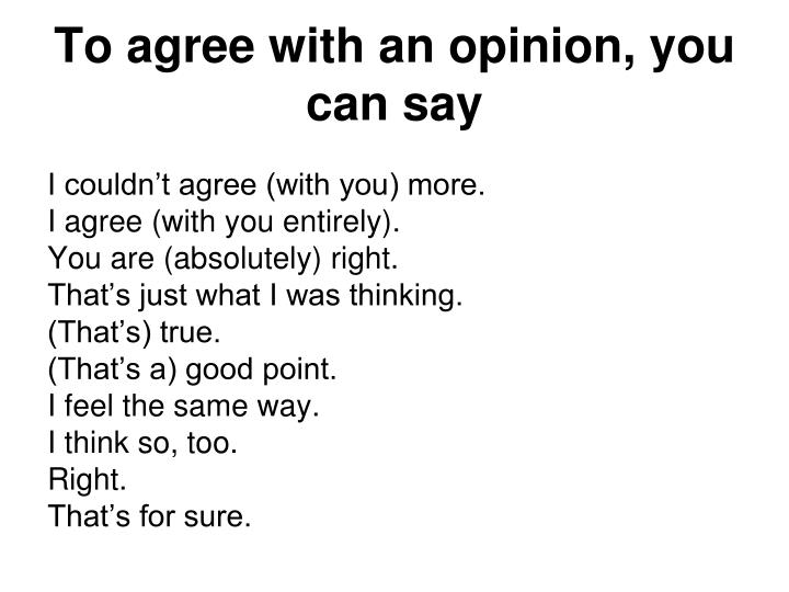 To agree with an opinion, you can say