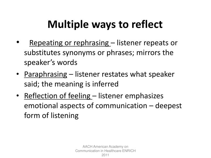 Multiple ways to reflect