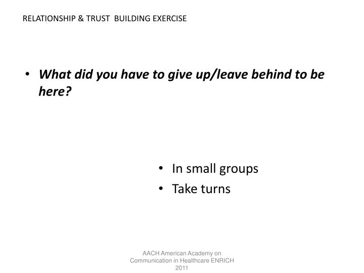 RELATIONSHIP & TRUST  BUILDING EXERCISE