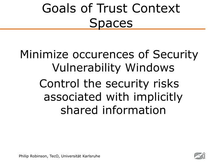 Goals of Trust Context Spaces