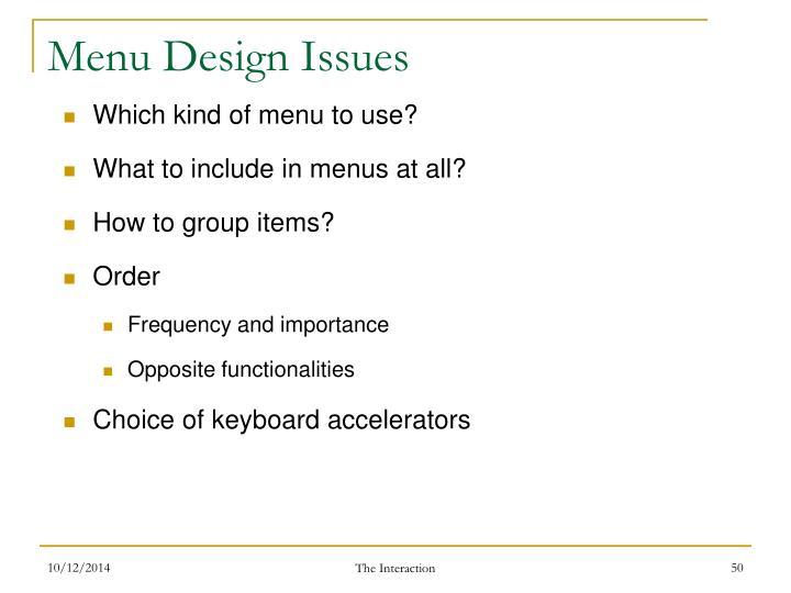 Menu Design Issues