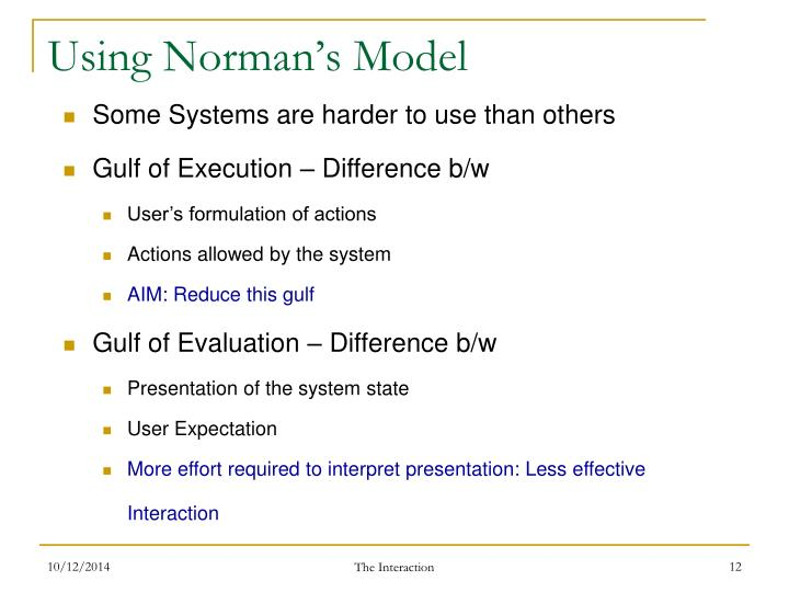 Using Norman's Model