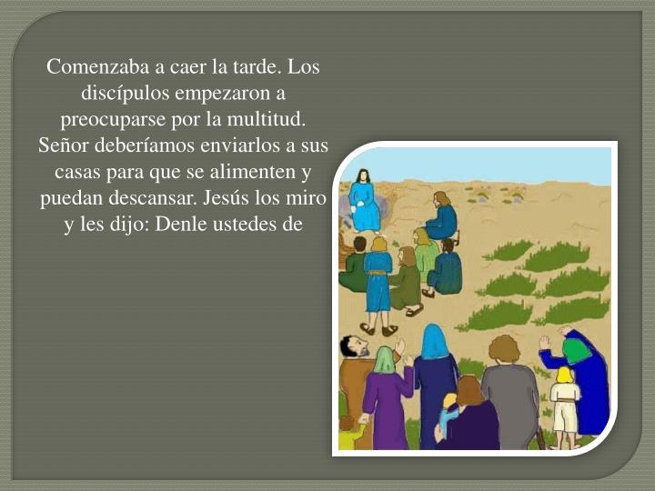 Comenzaba a caer la tarde. Los discípulos empezaron a preocuparse por la multitud. Señor deberíamos enviarlos a sus casas para que se alimenten y puedan descansar. Jesús los miro y les dijo: Denle ustedes de