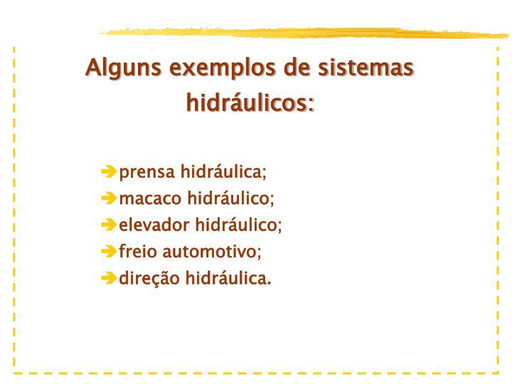 Alguns exemplos de sistemas hidráulicos: