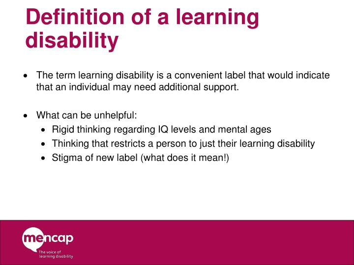 Definition of a learning disability