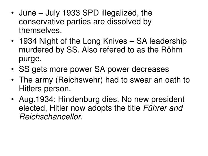 June – July 1933 SPD illegalized, the conservative parties are dissolved by themselves.