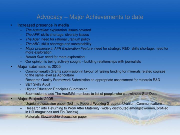 Advocacy – Major Achievements to date