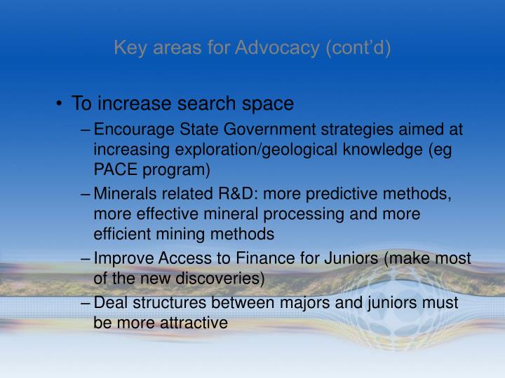 Key areas for Advocacy (cont'd)