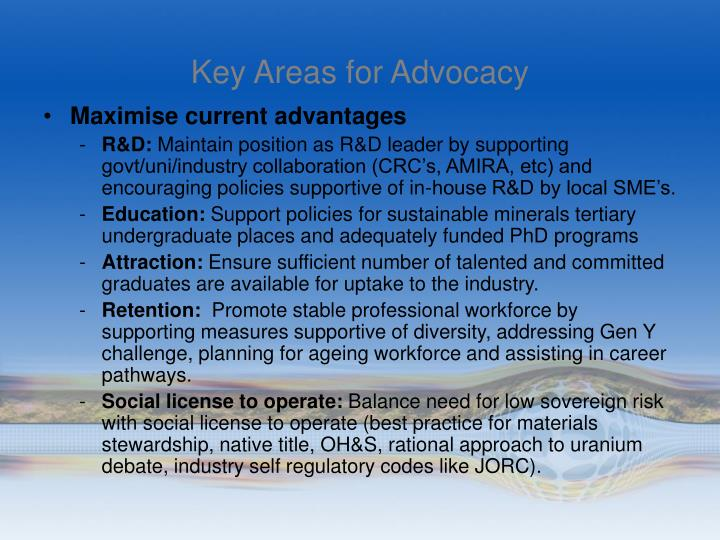 Key Areas for Advocacy