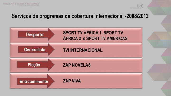 Serviços de programas de cobertura internacional -2008/2012