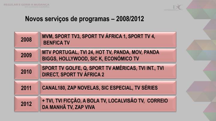 Novos serviços de programas – 2008/2012