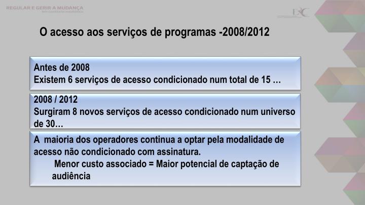 O acesso aos serviços de programas -2008/2012