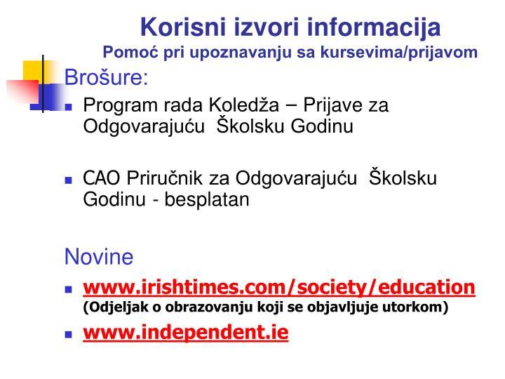 Korisni izvori informacija