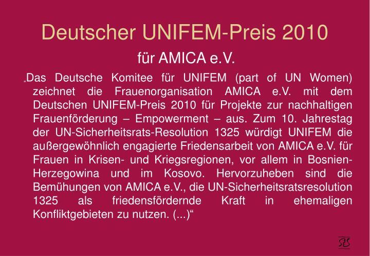 Deutscher UNIFEM-Preis 2010