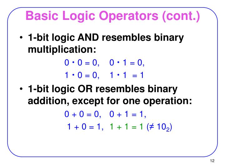 Basic Logic Operators (cont.)
