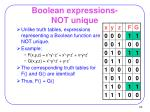 boolean expressions not unique