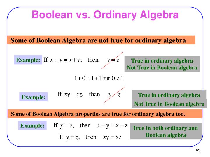 Boolean vs. Ordinary Algebra