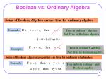boolean vs ordinary algebra