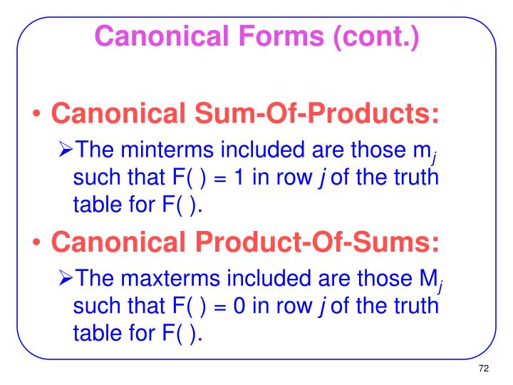 Canonical Forms (cont.)