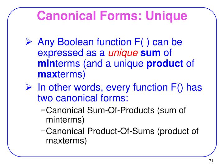 Canonical Forms: Unique