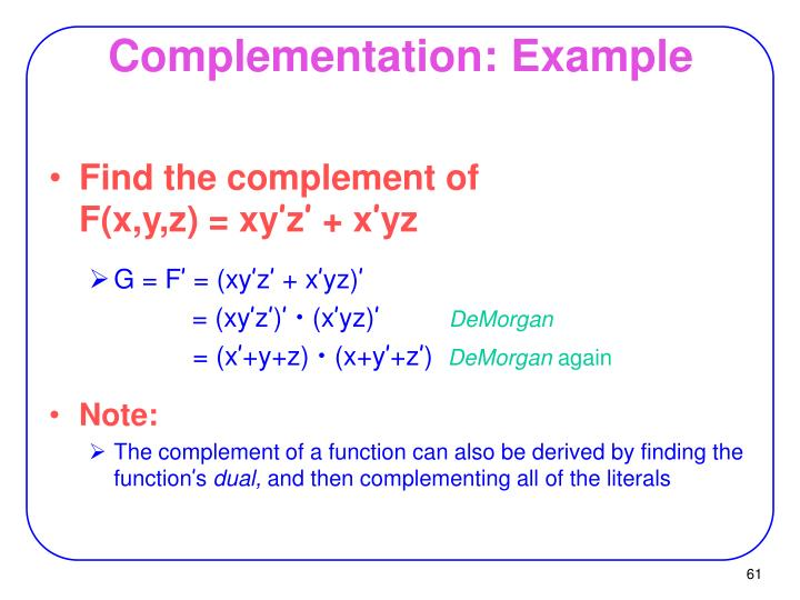 Complementation: Example