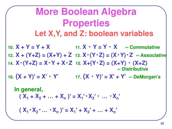 More Boolean Algebra Properties
