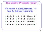 the duality principle cont